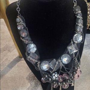 Pink Black Mesh Girlie Grunge Statement Necklace
